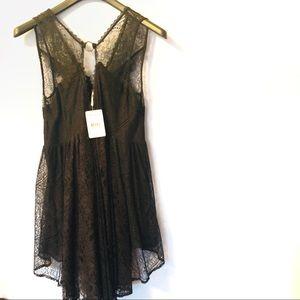 NWT Free People Black Comb Lace Mini dress